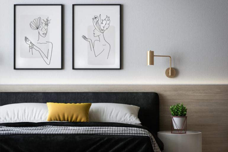 Lösungen für kleine Schlafzimmer: Dunkles Bett mit Nachttisch